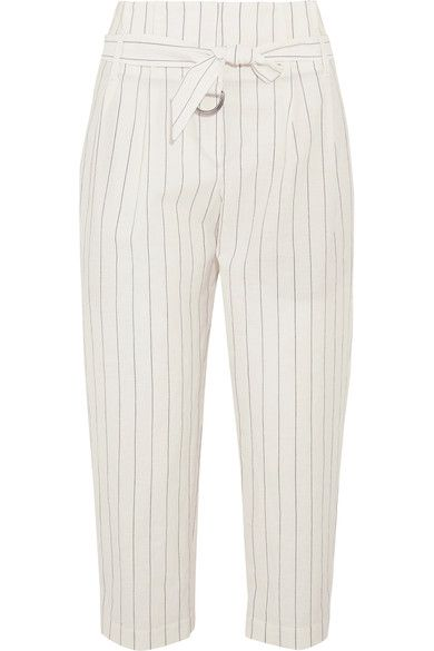 Brunello Cucinelli - Cropped Striped Wool And Linen-blend Wide-leg Pants - White - IT42