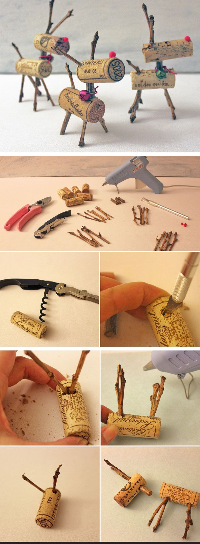 Wine Cork Reindeers | Click Pic for 22 DIY Christmas Decor Ideas on a Budget | Last Minute Christmas Decorating Ideas for the Home