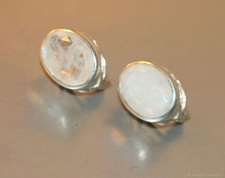 Серьги лунный камень-адуляр натуральный природный -серебро 925% – купить в интернет-магазине на Ярмарке Мастеров с доставкой