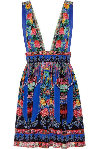 Camilla - Chinese Whispers Embellished Printed Silk Crepe De Chine Mini Dress - Bright blue