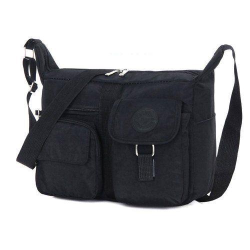 BLACK Nylon Messenger Bag Shoulder Cross Body Handbag School Work Bag  #Fabuxry #MessengerCrossBody