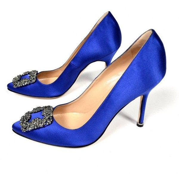 New Manolo Blahnik Carrie Bradshaw Blue Satin Shoes Lanza Heels in box... ❤ liked on Polyvore featuring shoes, pumps, blue shoes, satin pumps, manolo blahnik, satin shoes and blue satin shoes