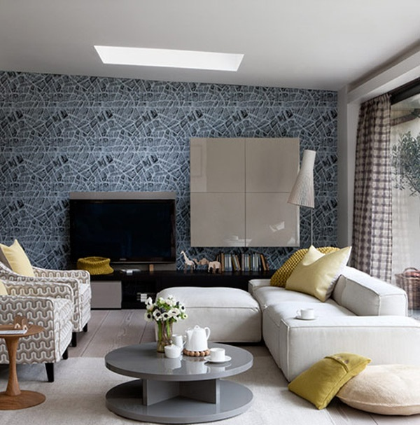 Black And Grey Living Room Wallpaper Motifs