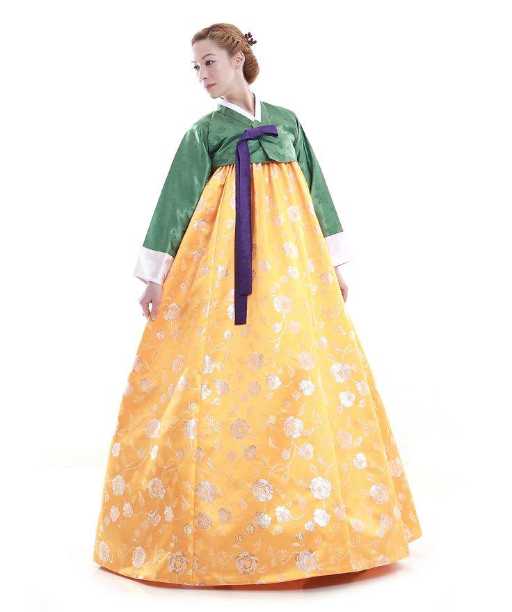 http://www.antiquealive.com/store/detail.asp?idx=4902 Custom Made Faux Silk Yellow Green Evening Party Hanbok Korean Dress