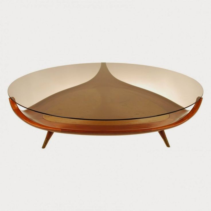 Small Modern Oval Glass Top Coffee Table With Triangle