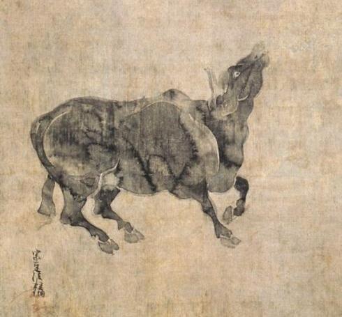 俵屋宗達『牛図』(部分、頂妙寺蔵)