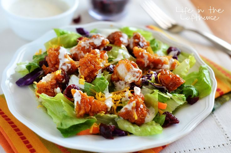 Sticky Chicken Fingers Salad! Just like the one from Wingers with their amazing sticky fingers!  - Life In The Lofthouse