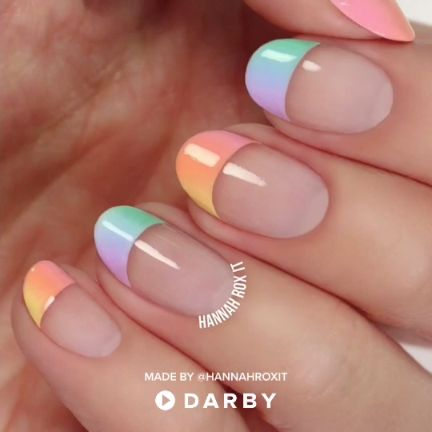 Pastel Ombre Nail Design Video Tutorial #darbysmart #beautytips #beautyhacks #be…