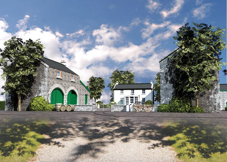 3D Illustration traditional outbuildings of a farmhouse in Athy, Co. Kildare, Ireland