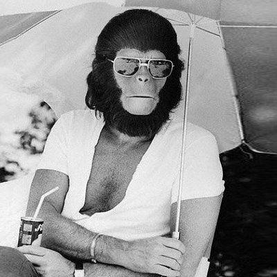 """Roddy McDowall alias """"Dr. Cornélius"""" sur le tournage de La planète des singes de Franklin J. Schaffner"""