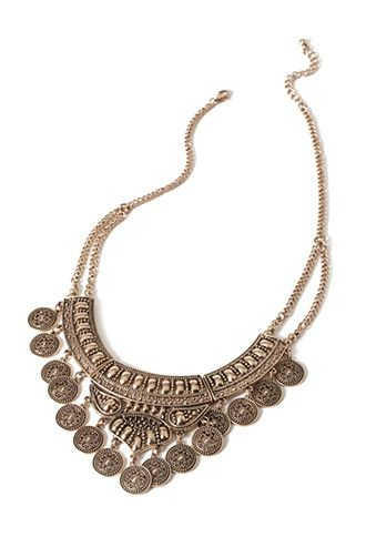 Etched Coin Bib Necklace | Forever 21 - 1000115013