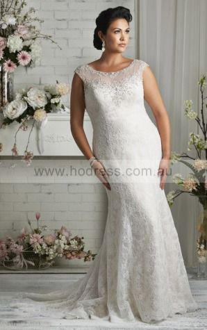 Cap Sleeves Buttons Lace Scoop Sheath Wedding Dresses fycf1106--Hodress