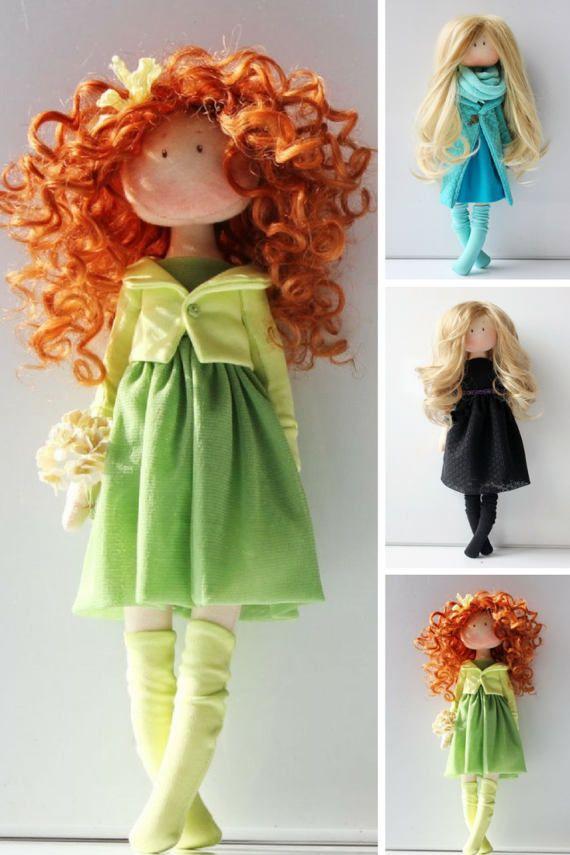 Birthday doll Green doll Tilda doll Fabric by AnnKirillartPlace
