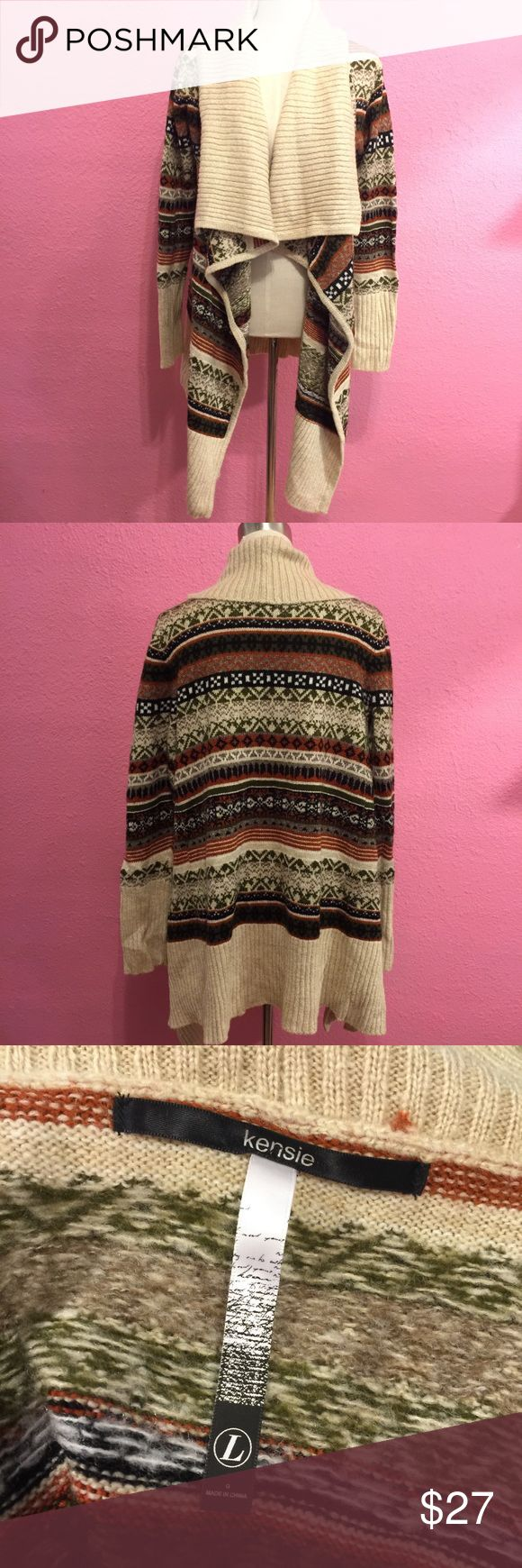 Kensie tribal print waterfall sweater   Browns Kensie tribal print waterfall sweater  Browns Kensie Sweaters Cardigans