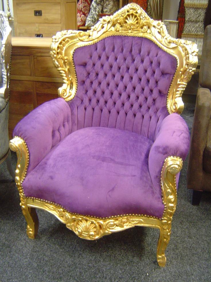 Barok Troon groud frame paarse stof