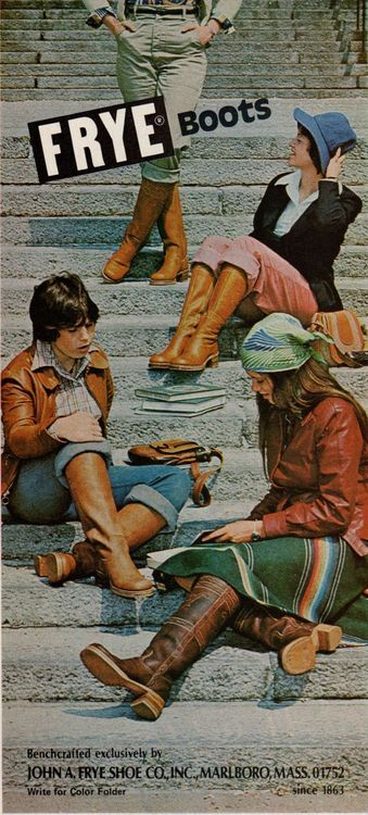 (Mademoiselle, October 1976) Frye ad 70s boots ad color photo print models vintage fashion leather brown