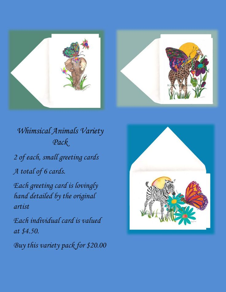 Whimsical Animals greeting cards , Variety Pack