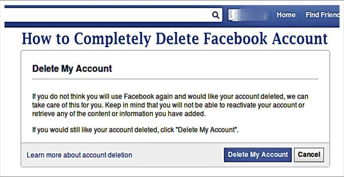 How To Completely Delete Facebook Account Delete Facebook