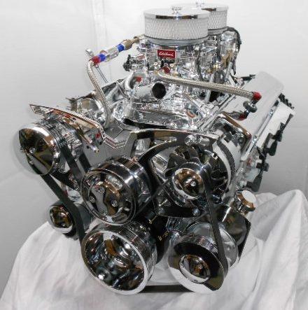 Chevy 383 Dual Quad Chrome Package  http://www.enginefactory.com/Horsepowerchoices.htm