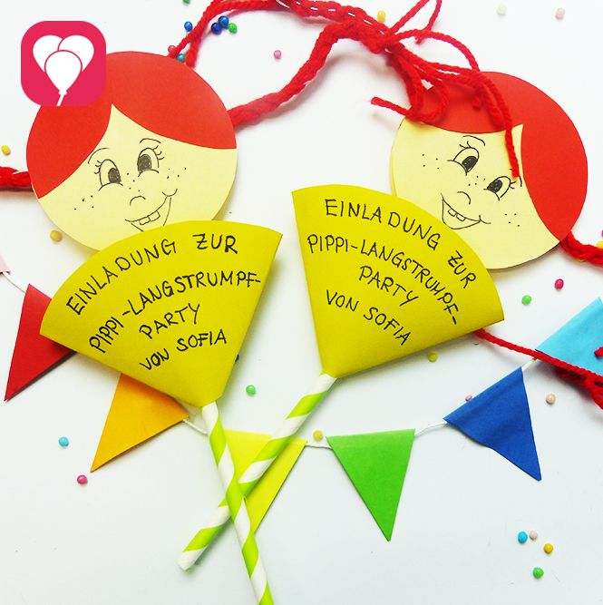 Wir zeigen Dir, wie Du mit unseren fröhlich bunten Pippi Langstrumpf Einladungen mottogetreu zum Pippi Langstrumpf Geburtstag einlädst!