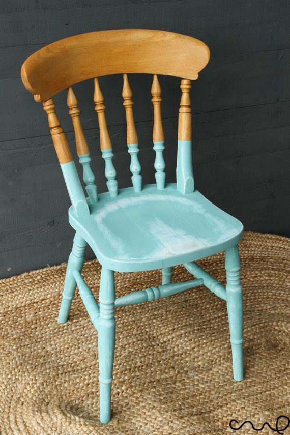 Shabby Chic Dining Chair Annie Sloan Provence Distressed Half Painted Farmhouse