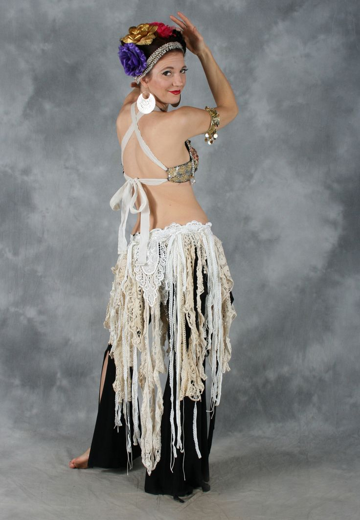 RETRO LACE FRINGE BELT in Antique White and Cream, for Belly Dance - Dahlal Internationale Store