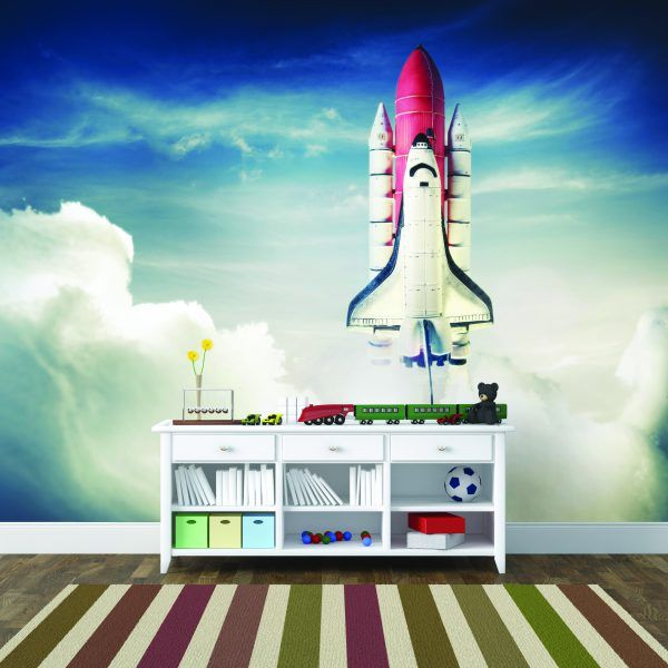 58 best outer space space rocket bedroom ideas images on for Outer space wallpaper for bedroom