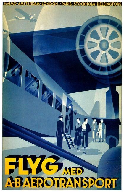 """""""Vintage 1932 Flyg Airline Travel Art"""" by Johnny Bismark"""