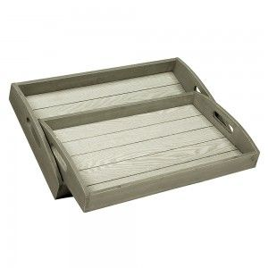 Set of 2 Wooden Serving Trays