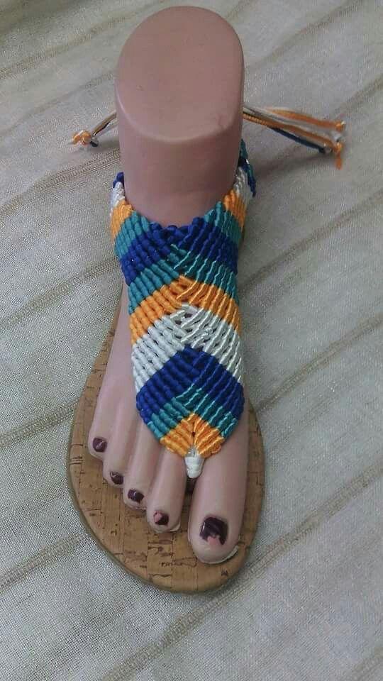 Sandalias macrame a colores
