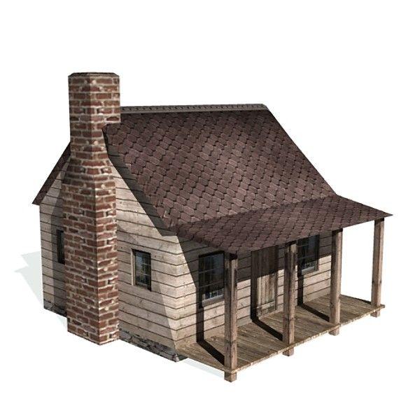 3d historical garrison house buildings