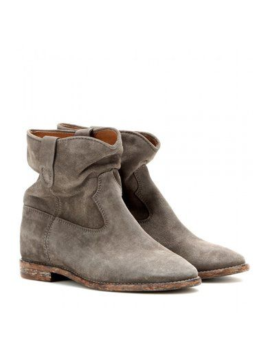'Grey Crisi suede concealed wedge ankle boots By Isabel Marant'