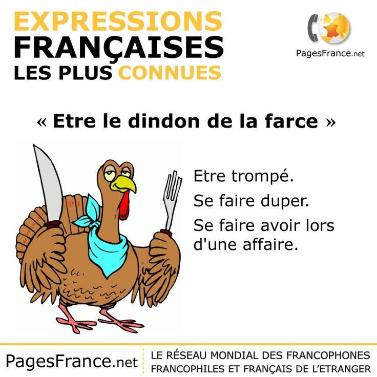 être le dindon de la farce.  Translation:  Be the turkey stuffing.  Or ... be the butt of a joke.
