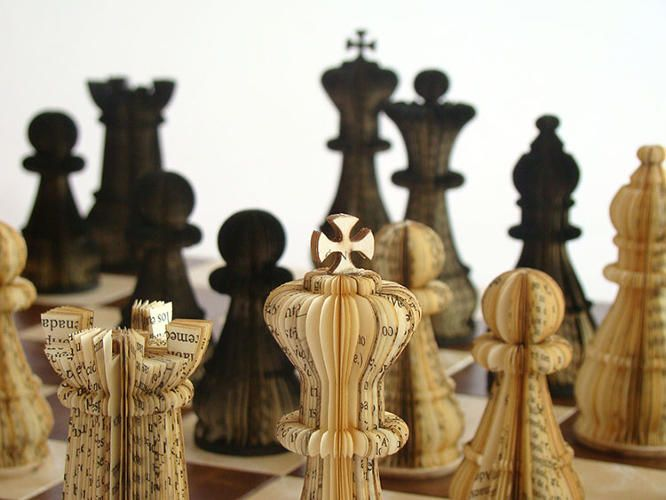 Intricate chess pieces from book pages.          Gloucestershire Resource Centre http://www.grcltd.org/scrapstore/