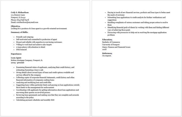 Loan agent resume resume loan loan application