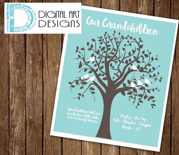 Grandchildren Family Tree -  Grandparents gift - Family Tree - Personalized Grandparents Gift - Christmas Gift ***Digital File Only ***