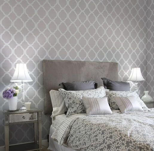 Doing this exact thing in our master bedroom - gray color too -Moroccan Stencil Design Rabat