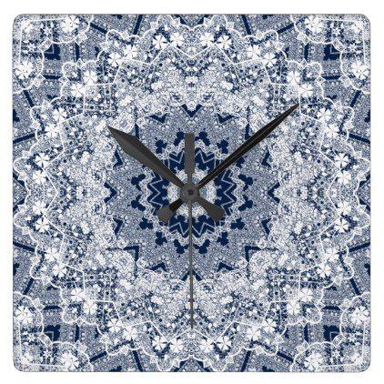 #Lace ornament square wall clock - #Xmas #ChristmasEve Christmas Eve #Christmas #merry #xmas #family #kids #gifts #holidays #Santa