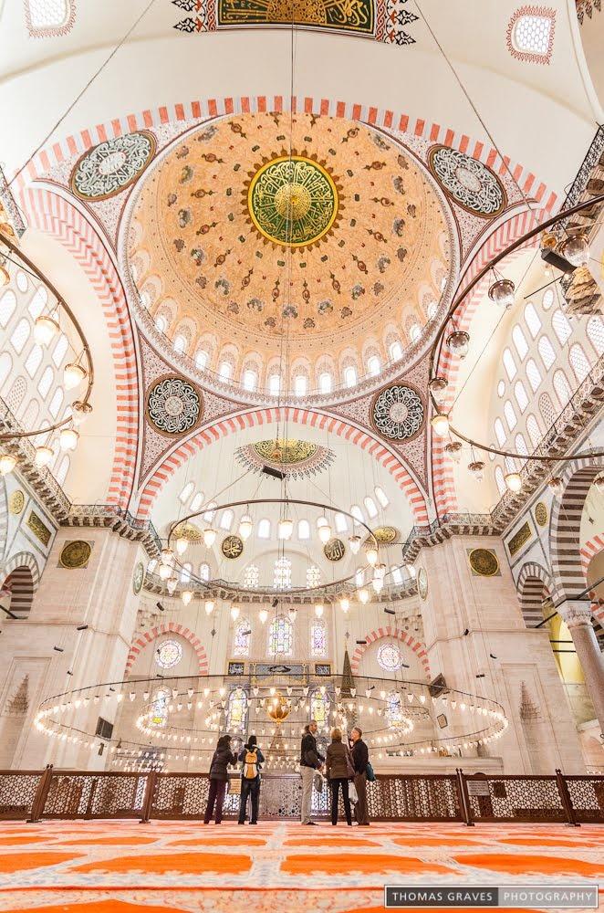 Interior of the Süleymaniye Mosque - Istanbul, Turkey