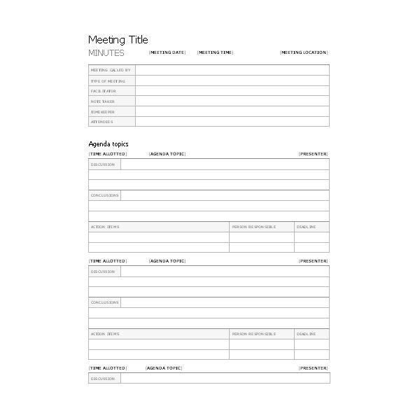Free Templates for Business Meeting Minutes - free corporate minutes template
