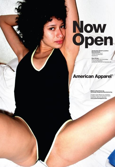 Soon to be closed--American Apparel files for bankruptcy as they learn that the consumer does not respond to disgusting overtly sexual/pedophilic ads.  (10/6/15)