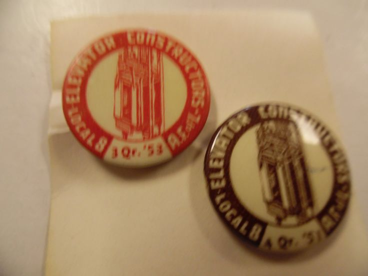 Vintage Union pins, Labor Union pins, elevator  workers union, 1953 1951  union pinback by bullseyecollectibles on Etsy