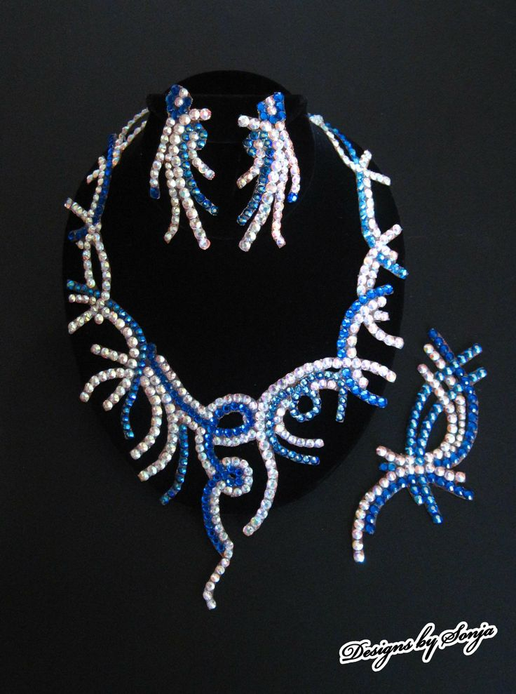 Ballroom jewelry, dancesport accessories, aurora and blue Swarovski Crystal jewelry set designed and created by Sonja Ballin. All Jewelry Designs copyright ©2014, Sonja Ballin of Tampa Bay, Florida.  www.sonjadesigns.com Check us out  (and like) on Facebook:  https://www.facebook.com/pages/Designs-By-Sonja/220737151285770