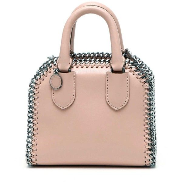 STELLA MCCARTNEY 'Falabella Box' Micro Eco-Leather Tote Bag With Strap (955 CAD) ❤ liked on Polyvore featuring bags, handbags, tote bags, pink handbags, stella mccartney purse, tote handbags, tote bag purse and pink tote purse