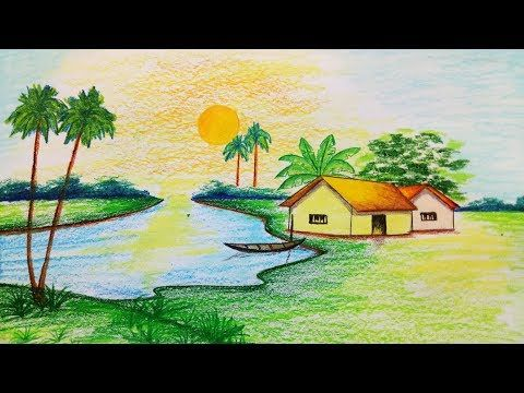 How To Draw Riverside Village Scenery Step By Step Easy Draw Youtube Easy Nature Drawings Drawing Scenery Scenery Drawing For Kids