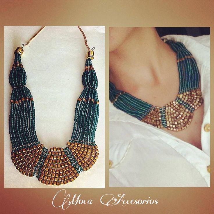 Collar Moca  100% #handmade #mocaaccesorios #Colombia Ref. C.M007//