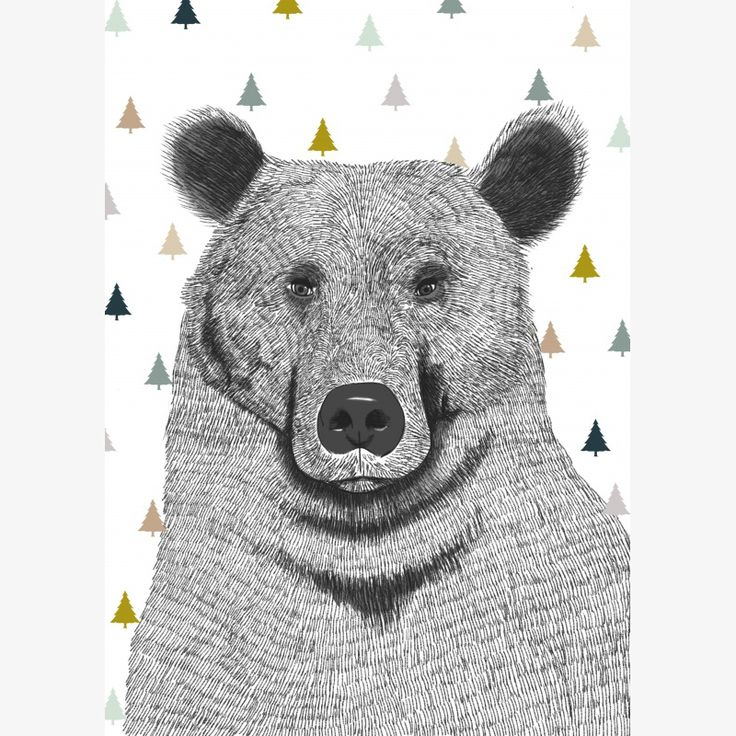 Minimel Bear with Trees (Ours et Sapins) artwork - assorted sizes (A4, A3 and A2) | room to decorate | scandinavian and vintage designed homewares - online shop