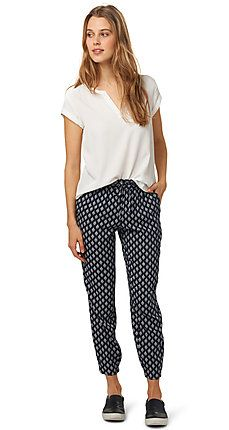 summery printed pants for women (patterned, with integrated elastic in the waistband and fastens with a drawstring) - TOM TAILOR