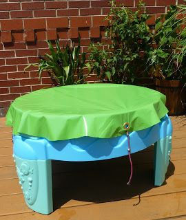 Craftulate: No-Sew Water Table Cover Tutorial - would work for a sandbox/tub too