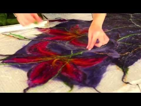 ▶ YouTube ~ in Russian but very complete with techniques using multiple materials in nuno felting a shawl.